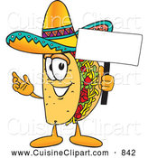 Cuisine Clipart of a Smiling Taco Mascot Cartoon Character Holding a Blank Sign by Toons4Biz