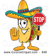Cuisine Clipart of a Smiling Taco Mascot Cartoon Character Holding a Stop Sign by Toons4Biz