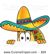 Cuisine Clipart of a Smiling Taco Mascot Cartoon Character Peeking over a Surface by Toons4Biz