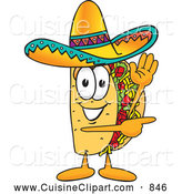 Cuisine Clipart of a Smiling Taco Mascot Cartoon Character Waving and Pointing by Toons4Biz