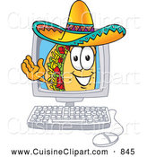 Cuisine Clipart of a Smiling Taco Mascot Cartoon Character Waving from Inside a Computer Screen by Toons4Biz