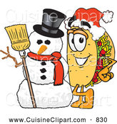 Cuisine Clipart of a Smiling Taco Mascot Cartoon Character with a Snowman on Christmas by Toons4Biz