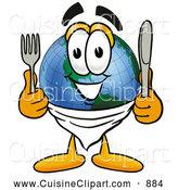 Cuisine Clipart of a Smiling World Earth Globe Mascot Cartoon Character Holding a Knife and Fork by Toons4Biz