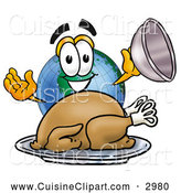 Cuisine Clipart of a Smiling World Earth Globe Mascot Cartoon Character Serving a Thanksgiving Turkey on a Platter by Toons4Biz