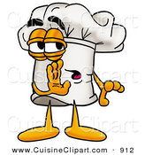 Cuisine Clipart of a Sneaky Chefs Hat Mascot Cartoon Character Whispering and Gossiping by Toons4Biz