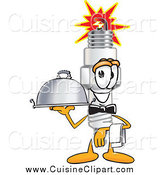 Cuisine Clipart of a Spark Plug Character Waiting Tables by Toons4Biz