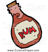 Cuisine Clipart of a Splashing Rum Bottle by Lineartestpilot