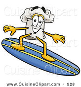 Cuisine Clipart of a Sporty and Smiling Chefs Hat Mascot Cartoon Character Surfing on a Blue and Yellow Surfboard by Toons4Biz