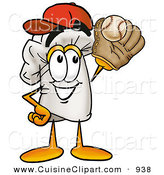 Cuisine Clipart of a Sporty Chefs Hat Mascot Cartoon Character Catching a Baseball with a Glove by Toons4Biz