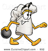 Cuisine Clipart of a Sporty Chefs Hat Mascot Cartoon Character Holding a Bowling Ball by Toons4Biz