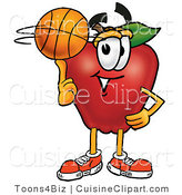 Cuisine Clipart of a Sporty Nutritious Red Apple Character Mascot Spinning a Basketball on His Finger by Toons4Biz