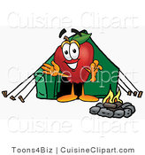 Cuisine Clipart of a Sporty Red Apple Character Mascot Camping with a Tent and a Fire by Toons4Biz