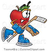 Cuisine Clipart of a Sporty Red Apple Character Mascot Playing Ice Hockey and Holding a Puck by Toons4Biz