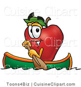 Cuisine Clipart of a Sporty Red Apple Character Mascot Rowing a Boat by Toons4Biz