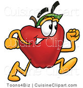 Cuisine Clipart of a Sporty Red Apple Character Mascot Running in a Hurry by Toons4Biz
