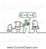 Cuisine Clipart of a Stick Family Grocery Shopping and Calculating in Euros by NL Shop