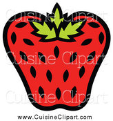 Cuisine Clipart of a Strawberry with Black Seeds by Andy Nortnik