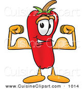 Cuisine Clipart of a Strong Chili Pepper Mascot Cartoon Character Flexing His Arm Muscles by Toons4Biz