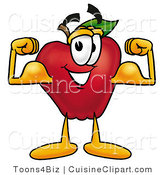 Cuisine Clipart of a Strong Nutritious Red Apple Character Mascot Flexing His Arm Bicep Muscles by Toons4Biz