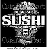 Cuisine Clipart of a Sushi Word Collage on Black by MacX