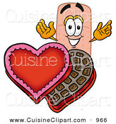 Cuisine Clipart of a Sweet Adhesive Bandaid Bandage Mascot Cartoon Character with an Open Box of Valentines Day Chocolate Candies by Toons4Biz