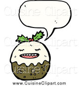 Cuisine Clipart of a Talking Christmas Pudding Mascot by Lineartestpilot
