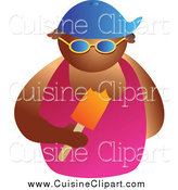 Cuisine Clipart of a Tan Man Wearing Shades and Eating a Popsicle by Prawny