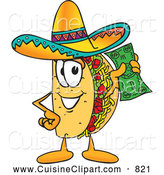 Cuisine Clipart of a Tasty Taco Mascot Cartoon Character Holding a Dollar Bill by Toons4Biz