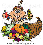 Cuisine Clipart of a Thanksgiving Native American Lady Holding Corn and an Apple over a Horn of Plenty by Dennis Holmes Designs