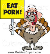 Cuisine Clipart of a Turkey Bird Holding a Yellow Eat Pork Sign by Dennis Holmes Designs