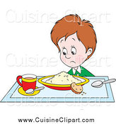 Cuisine Clipart of a Unappetized Boy Glaring at His Breakfast by Alex Bannykh