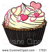 Cuisine Clipart of a Valentine Cupcake with Hearts by Graphics RF