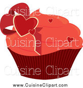 Cuisine Clipart of a Valentine Heart Cupcake by Randomway