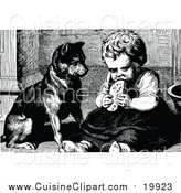 Cuisine Clipart of a Vintage Black and White Dog Watching a Girl Eat by Prawny Vintage