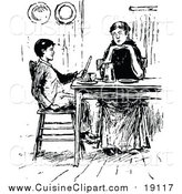 Cuisine Clipart of a Vintage Black and White Mother and Son at a Table by Prawny Vintage