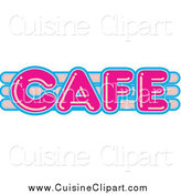 Cuisine Clipart of a Vintage Pink and Blue Neon Cafe Sign by Andy Nortnik
