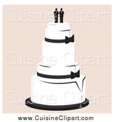 Cuisine Clipart of a Wedding Cake with a Gay Topper by Randomway