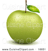 Cuisine Clipart of a Wet Green Apple by Graphics RF
