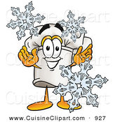 Cuisine Clipart of a White Chefs Hat Mascot Cartoon Character with Three Snowflakes in Winter by Toons4Biz