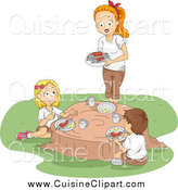 Cuisine Clipart of a White Female Camp Counselor and Children Eating on a Tree Stump by BNP Design Studio