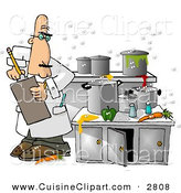 Cuisine Clipart of a White Food Health Inspector Inspecting a Dirty Kitchen at a Restaurant by Djart