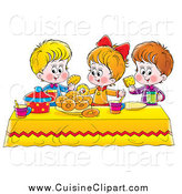 Cuisine Clipart of a White Girl and Two Boys Eating Bread and Bagels at a Picnic Table by Alex Bannykh