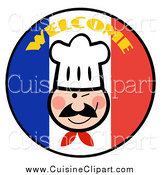 Cuisine Clipart of a Winking Chef on a Welcome French Flag Circle by Hit Toon