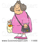 Cuisine Clipart of a Woman Carrying a Plastic Bag Full of Fruit to the Left by Djart