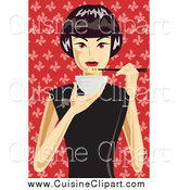 Cuisine Clipart of a Woman Eating a Bowl of Noodles over Red by Mayawizard101