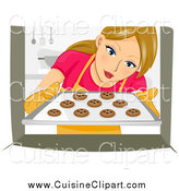 Cuisine Clipart of a Woman Pulling Cookies out of an Oven by BNP Design Studio
