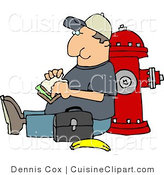 Cuisine Clipart of a Worker Man Eating His Lunch Outside Against a Fire Extinguisher by Djart