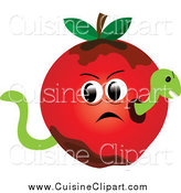 Cuisine Clipart of a Worm in a Bad Red Apple by Pams Clipart