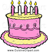 Cuisine Clipart of a Yellow and Pink Birthday Cake with Candles by Lineartestpilot