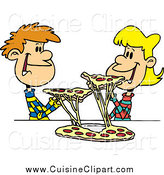 Cuisine Clipart of a Young Couple Sharing Pizza by Toonaday